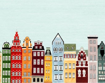 Combined Colorful Northern European Buildings Skyline Scandinavian Illustration Fine Art Print:,Copenhagen, Amsterdam, Helsinki, Stockholm