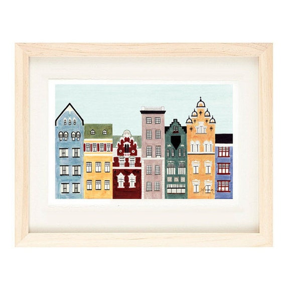Helsinki Finland Illustration Fine Art Print Of Colorful