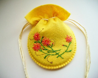 Gift Bag Yellow Felt Compact Pouch with Hand Embroidered Flowers Handsewn