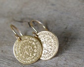 Gold Disc Earrings, Gold Earrings, Gold Earring, Circle Earrings, Simple Gold Dangle Earrings