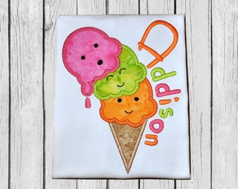 Oh No Ice Cream Cone Applique