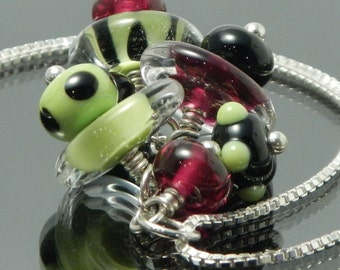 Celebration Pendant, lampwork necklace, long, sterling silver chain, 24 inch, black, lime green and magenta pink, watermelon, womens jewelry