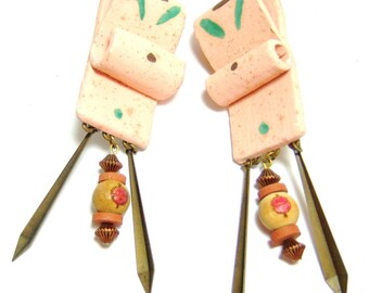 clip on earrings, vintage long weird sort of dangle and drop hard to describe clip on earrings 514D