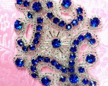 "JB115 Applique Royal Blue Rhinestone Silver Beaded 4"" (JB115-blsl)"