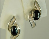 Black Spinel Stud Sterling Silver Earrings 6x4mm 1ctw In Swirl Design Natural Untreated