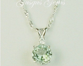Prasiolite Green Amethyst Sterling Silver Necklace 8mm 1.80ct With White Zircon Accent