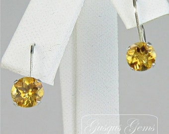 Citrine Sterling Silver Leverbacks 6mm 1.60ctw