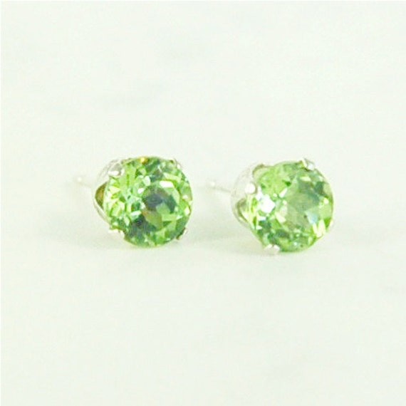 Peridot Earrings Studs Sterling Silver 5mm Round 1.20ctw Natural Untreated