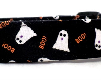 Ghoulish Ghosts with Orange BOO on Black Halloween Dog Collar White