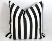 Black White Striped Pillow Cover, Decorative Pillow Cover, Modern Outdoor Pillow Case, Striped Cushion Cover, Accent Pillow Cover Mazizmuse