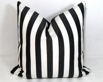 Black White Striped Pillow Cover, Decorative Pillow Cover, Modern Outdoor Pillow Case, Striped Cushion Cover, Accent Pillow Cover Mazizmuse