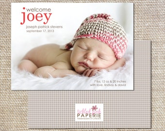 Photo birth announcement with baby's nickname