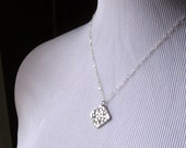 Necklace Fine Silver Charm Pendant Fine Silver  PMC with Sterling Silver Chain - Clover Flower-