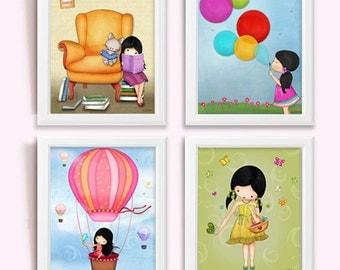 Girls Art Print - set of 4 - nursery wall decor, children's room art