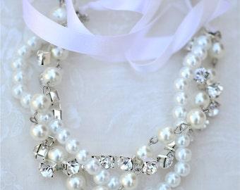 Bridesmaid Bracelet, Pearl, Rhinestone and Ribbon Color Your Choice, Swarovski Junior Bridesmaid Wedding Jewelry White Pearls with Silver