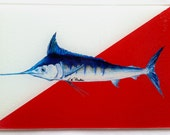 Wolfpack inspired marlin glass Cutting Board NC state red sportfishing artwork