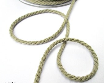 Beige twisted cotton cord, 4mm,  3 meters