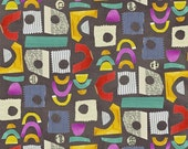 Collage Fabric by Windham 26-6 Multicolored and Patterned Cutouts with Eye Holes on Steel Gray Grey