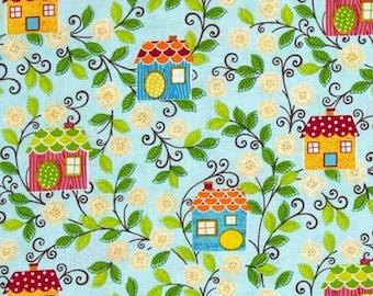 Sweet Tweet Fabric by Benartex Sunshine Birdhouses Cute Multicolored Birdhouses on Blue