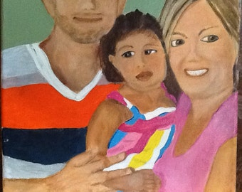 "Portrait of 3 people, 11""x14"""