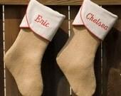 Burlap Christmas Stocking, Personalized