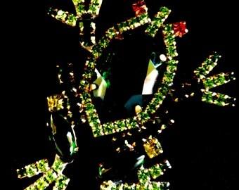 STUNNING  CZECH Frog GREEN Brooch, vintage 1970 - big frog brooch -brilliant emerald light --Art.819/2 -