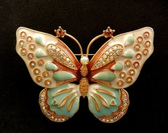 Outstanding, huge, dimensional butterfly brooch / pin signed KJL for Kenneth Jay Lane.-exquisite brooch for collectors --Art.880/2--