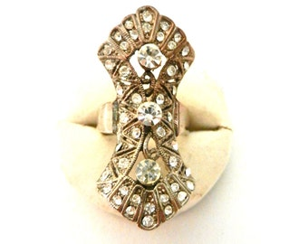 Vintage 1960s rare and unique ring in Art Nouveau style, white crystals - original design and charming--Art.977/2-