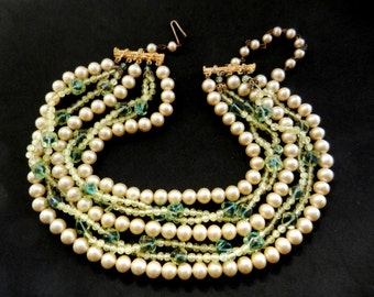 Sooo beautiful 1950s Ancient Green Glass Faux Pearl 5 Strand cascade Venetian  Necklace , beautiful shades of color---Art.427/3 -