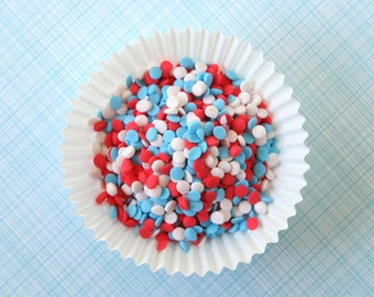 Red, Light Blue and White Sprinkles / Mini Quins for Cookies, Cupcakes, Cakepops and Cakes (3 ounces)
