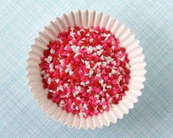 Mini Heart Sprinkles, Valentine Heart Confetti Sprinkles, Valentine's Sprinkles (3 oz)
