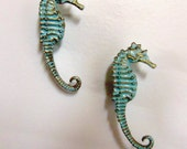 Drawer Pulls Knobs Seahorse Nautical Beach House Set of 2 Aqua