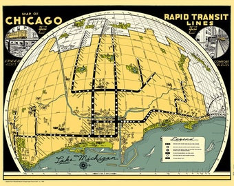 "Chicago Rapid Transit Map Poster Vintage ""L"" Birds Eye Trains Loop Lake Michigan State Street Adams Elevated Subway Wabash Clark Randolph"
