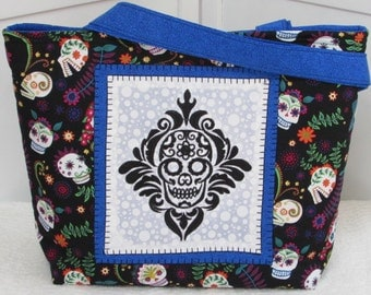 ON SALE Sugar Skull Large Tote Bag Dia De Los Muertas  Purse Ready To Ship