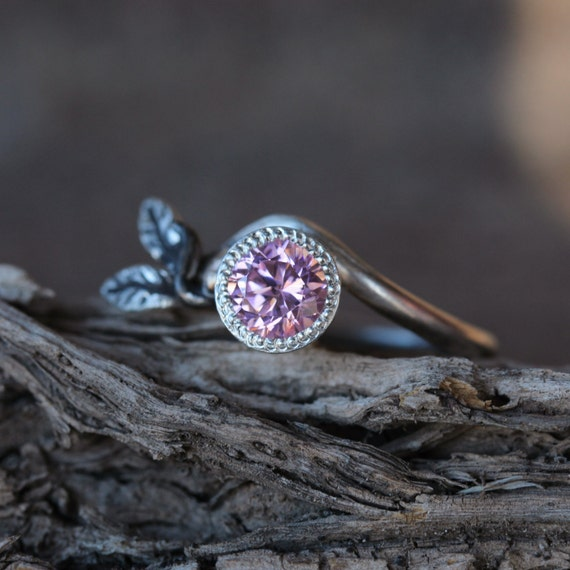pink cz branch leaf engagement ring silver gold tree