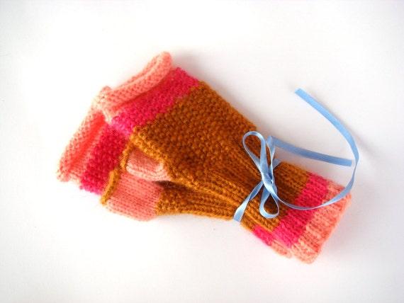 Fingerless gloves, winter accessory, knit mittens