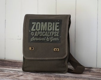 Zombie Apocalypse - Field Bag - School Bag - Khaki Green- Canvas Bag - Messenger Bag