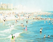 Large Beach Photography // Square Format Coney Island Beach Print // Large Wall Art // Beach People Photography - Peeps Dips Coney Island