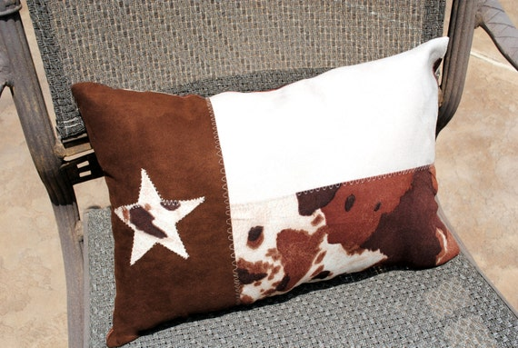 Faux Suede  Texas Flag Pillow