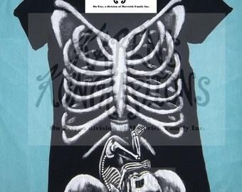 REALISTIC Maternity Skeleton Shirt S-XL Costume/ Wearable Art