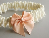 Simple Silk & Lace Toss Garter -- Ivory and Peach (Custom Colors Available)