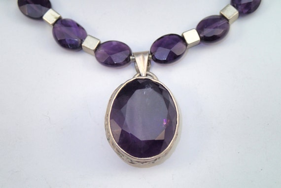 Purple amethyst necklace - handmade art jewelry