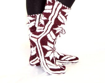 Burgundy and White, Long Slippers, Warm Slippers,Handmade Slippers, Mukluk