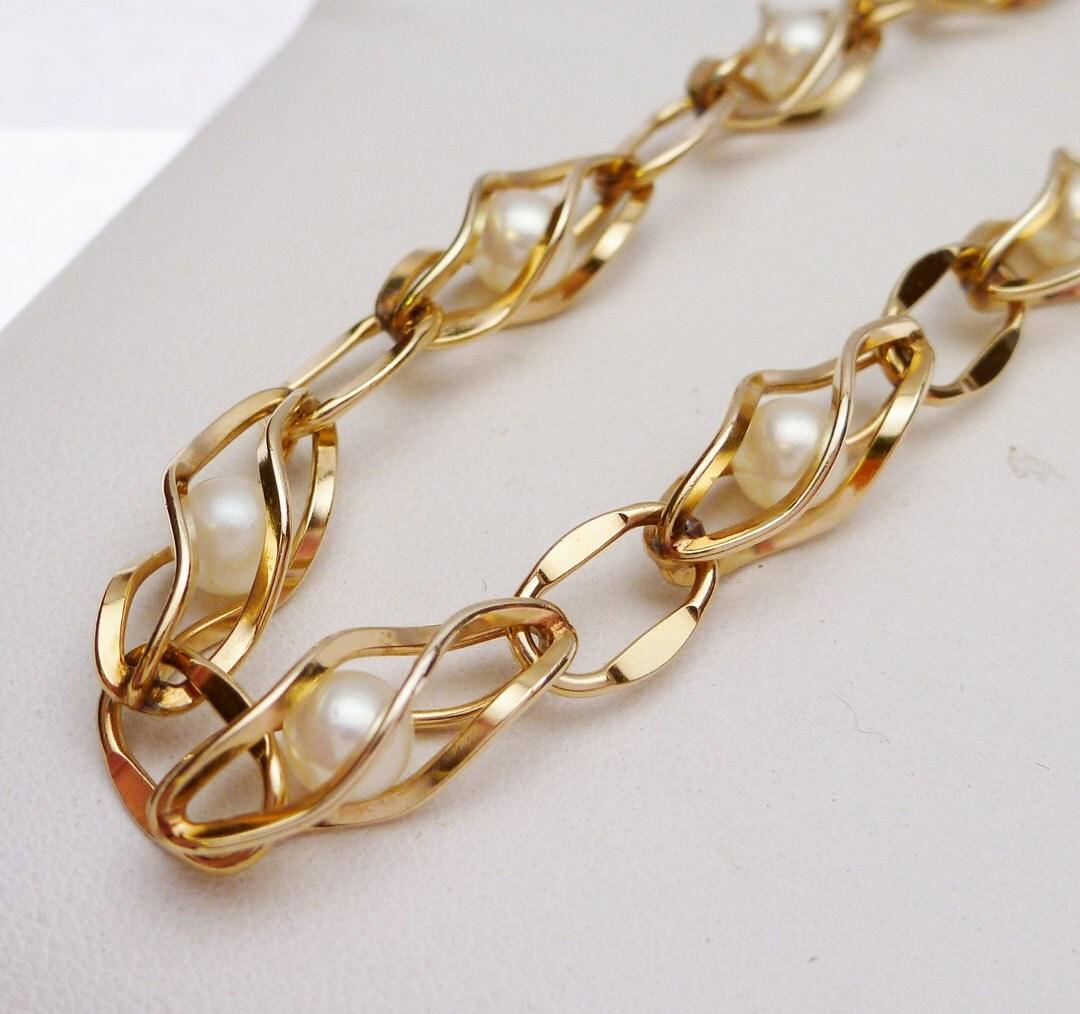 krementz caged genuine cultured pearl bracelet gf