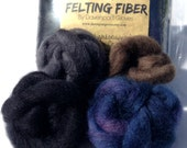 "Needle Felting Wool, Needle Felting Roving, ""Nightscapes"" color pack, Wet Felting Wool"