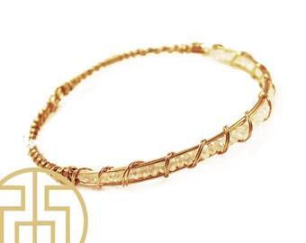 Opal Wire Wrapped Crystal Bracelet, H13-42