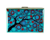 Accordion Wallet Metal Wallet Organizer Hand Painted Credit Card Holder Turquoise and Red Hand Painted with a Glossy Enamel Finish