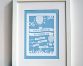 Personalized Baby Name, Date, Weight, Time and Place - Art Print