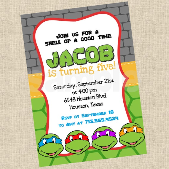 ninja turtle birthday invitation template – Turtle Birthday Invitations