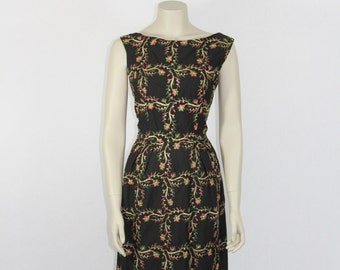 SALE.....1950's Dress - Vintage Black with Gold Pink and Green Embroidery Wiggle Dress - 36 / 26 / 40